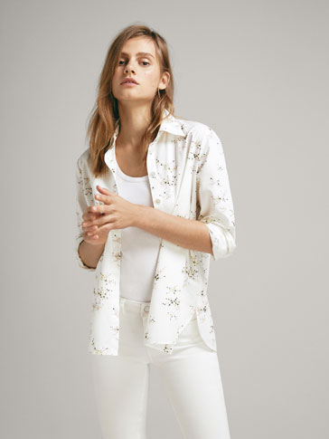 Floral Print Poplin Shirt by Massimo Dutti