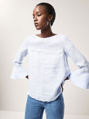 LINEN SHIRT WITH RUFFLE DETAIL