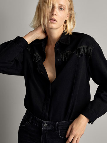 BLACK DENIM OVERSHIRT WITH PEARL BEADS