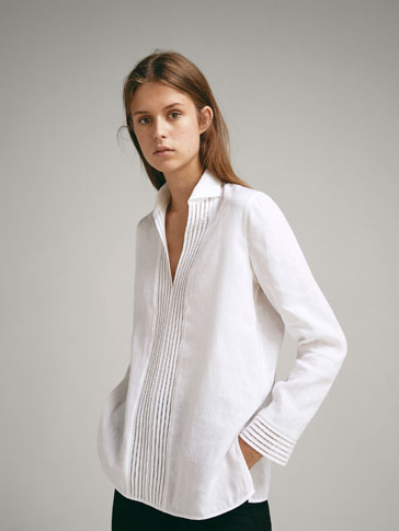 100% LINEN SHIRT WITH LACE TRIMS