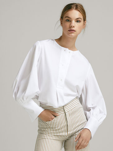 COTTON SHIRT WITH PUFF DETAIL