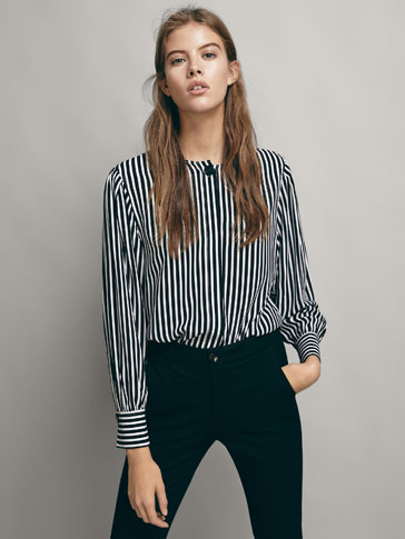 STRIPED BLOUSE WITH FRONT DETAIL