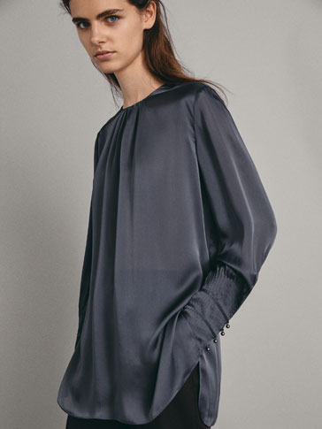 OVERSIZED SILK BLOUSE WITH CUFF DETAIL