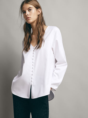 COTTON SHIRT WITH LINED BUTTONS