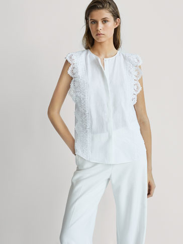 LINEN TOP WITH CROCHET DETAILS