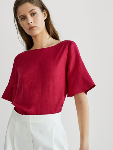 LINEN TOP WITH TOPSTITCHING DETAIL