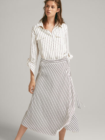 STRIPED WRAP-STYLE SKIRT
