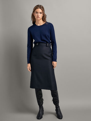 WOOL PENCIL SKIRT WITH BUTTONS