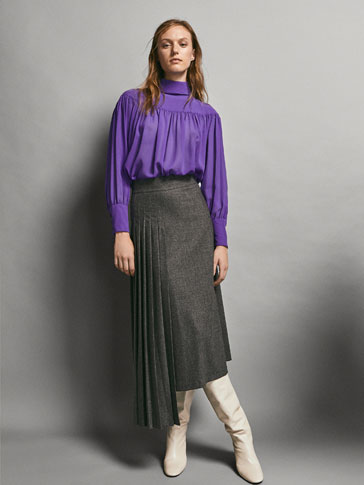 LIMITED EDITION WOOL SKIRT WITH SIDE PLEATING