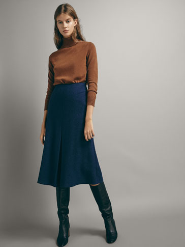 BOILED WOOL SKIRT WITH FRONT PLEAT