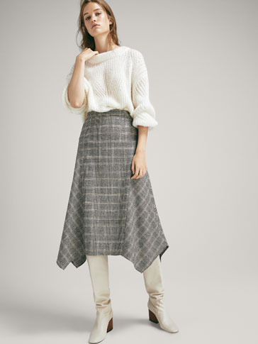 POINTED CHECK WOOL SKIRT
