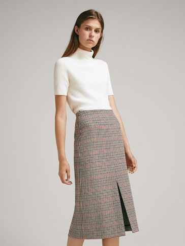 CHECK WOOL SKIRT WITH FRONT SLIT