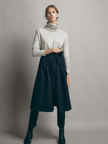 STRIPED COTTON SKIRT WITH BELT