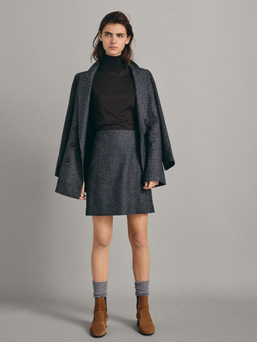 CHECK WOOL SKIRT WITH BUTTON