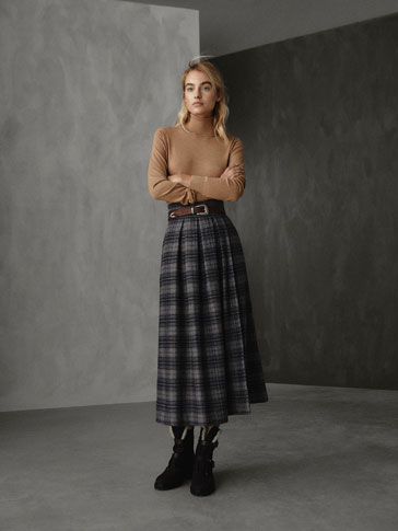 WINTER CAPSULE PLEATED CHECK WOOL SKIRT