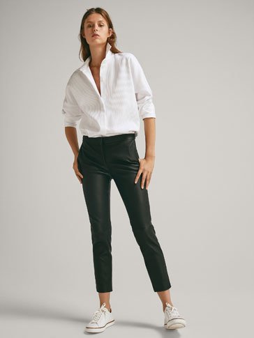 SLIM FIT LEATHER TROUSERS WITH STITCH DETAILS