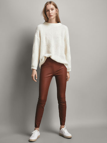 SEAMED SKINNY LEATHER LEGGINGS