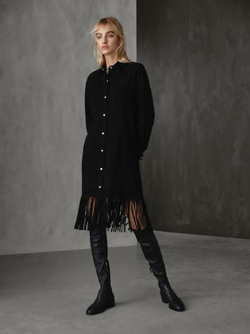 WINTER CAPSULE SUEDE DRESS WITH FRINGE