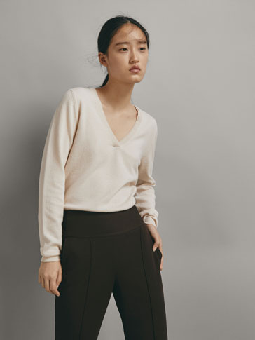 DOUBLE NECKLINE SWEATER