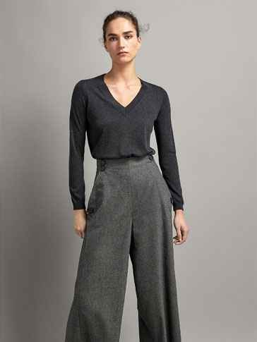 PLAIN SILK/WOOL SWEATER WITH ASYMMETRIC HEM
