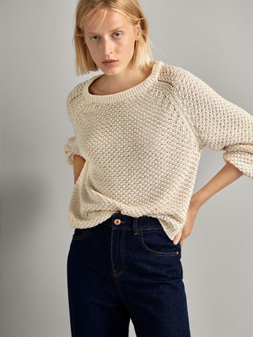 Textured Cotton Sweater With Shimmery Details by Massimo Dutti