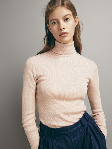 RIBBED WOOL/SILK SWEATER