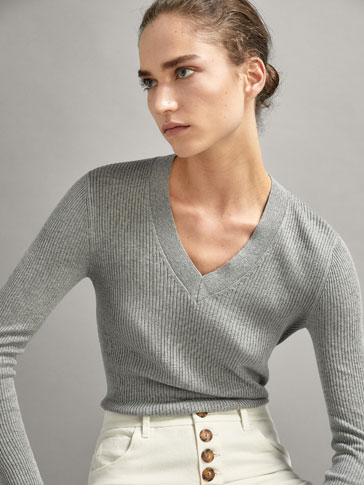 IRREGULAR RIBBED SILK/COTTON SWEATER