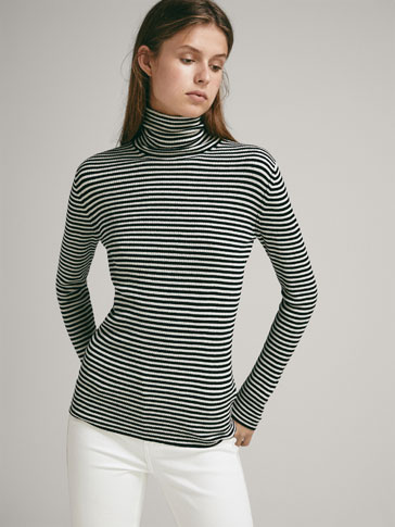 RIBBED SILK/WOOL SWEATER WITH STRIPES