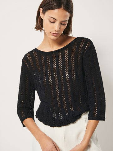 OPENWORK COTTON SWEATER WITH BACK DETAIL