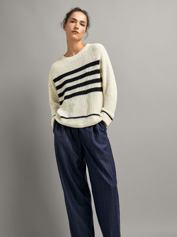 STRIPED PURL KNIT COTTON/WOOL SWEATER