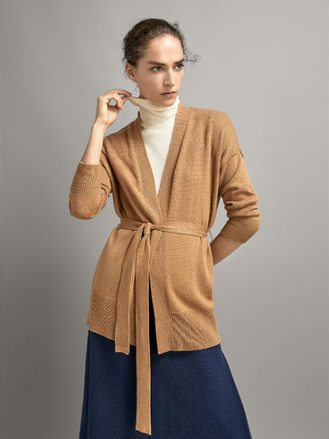 WOOL CARDIGAN WITH BELT