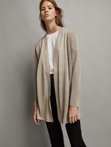 SHIMMERY CARDIGAN WITH TEXTURED SIDES