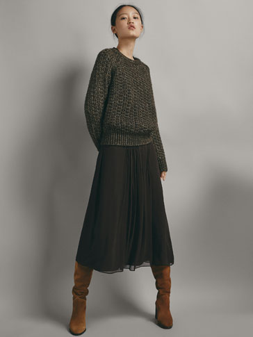 Textured Open Knit Sweater With Shimmery Details by Massimo Dutti