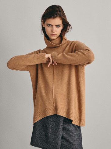 Wool Cape Style Sweater With Textured Centre by Massimo Dutti
