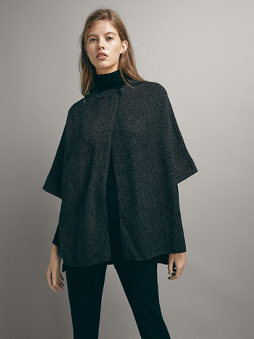 JACQUARD CAPE SWEATER WITH CONTRAST HEM