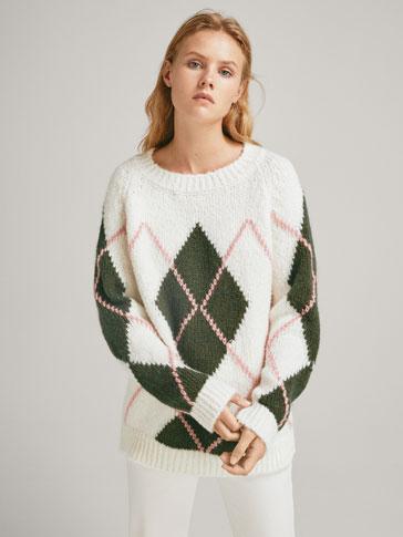Argyle Intarsia Sweater by Massimo Dutti