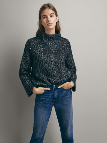 Shimmer Check Textured Sweater by Massimo Dutti