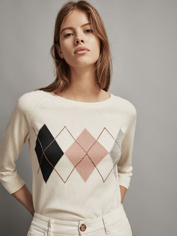ARGYLE INTARSIA CAPE SWEATER