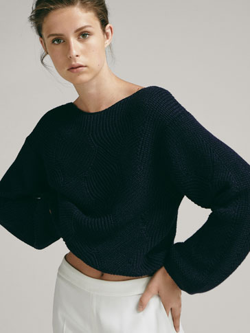 Sweater With Openwork Detailing by Massimo Dutti