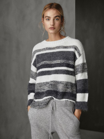 WINTER CAPSULE STRIPED CAPE-STYLE SWEATER
