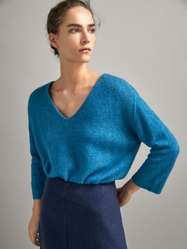 RIBBED CAPE-STYLE SWEATER