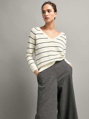 STRIPED SWEATER WITH TIE BACK