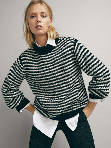 STRIPED TEXTURED WOOL SWEATER