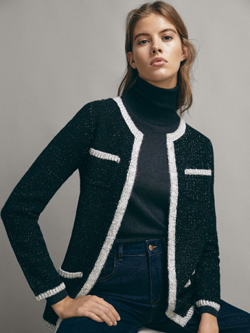 TEXTURED SHIMMERY CARDIGAN WITH CONTRAST TRIMS