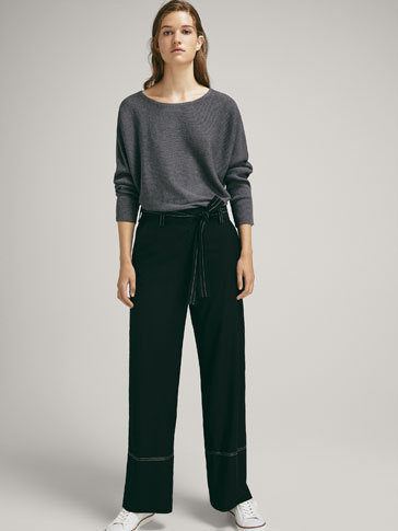 SILK/WOOL SWEATER WITH HORIZONTAL RIBBING