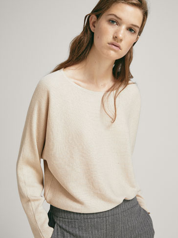 Sweater De Seda/LÃ Canelada Horizontal by Massimo Dutti