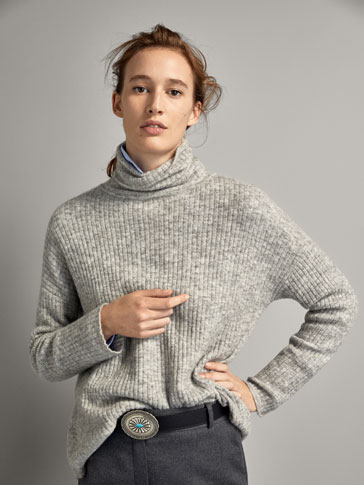 RIBBED WOOL CAPE-STYLE SWEATER