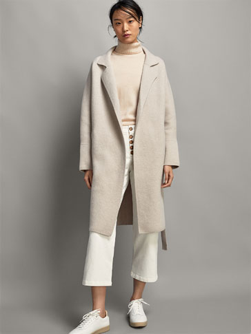 KNIT WOOL COAT WITH BELT
