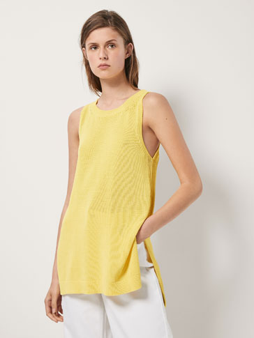 COTTON TEXTURED WEAVE TOP WITH SIDE VENTS