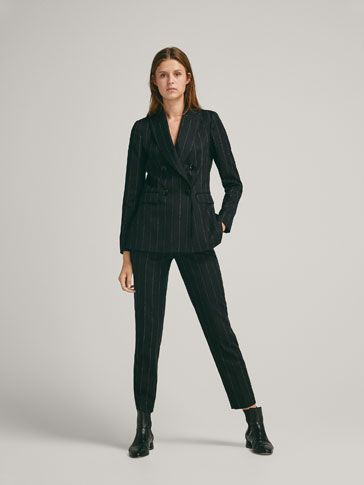 SLIM FIT PINSTRIPE WOOL BLAZER